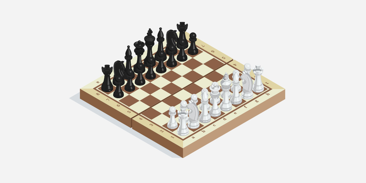 Chessboard with set pieces.