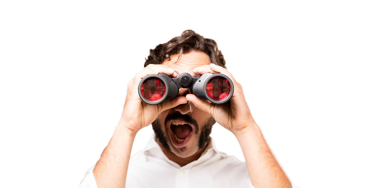 Become observant - a man with binoculars.