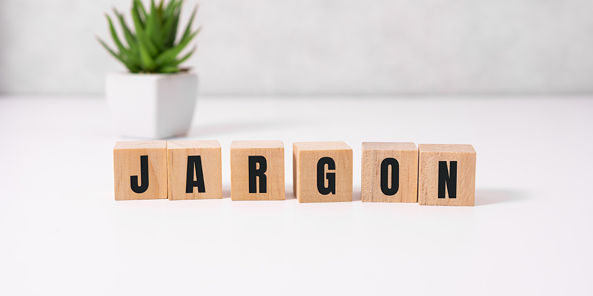 Work on your vocabulary - cubes spelling 'jargon'.