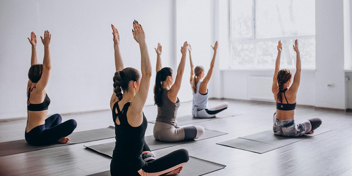 Yoga class as a social hobby.