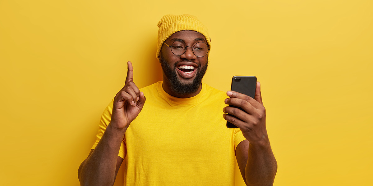 Happy man with the phone.