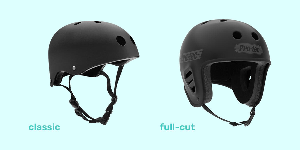 Classic and full-cut skateboard helmet.
