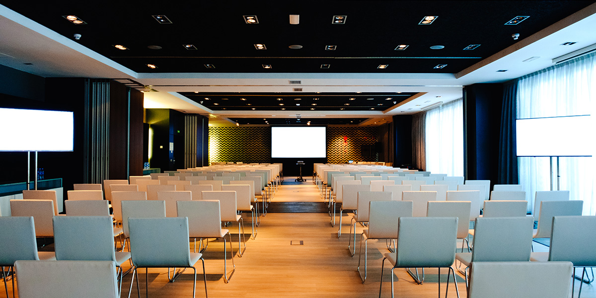 Public speaking venue - a large corporate hall.