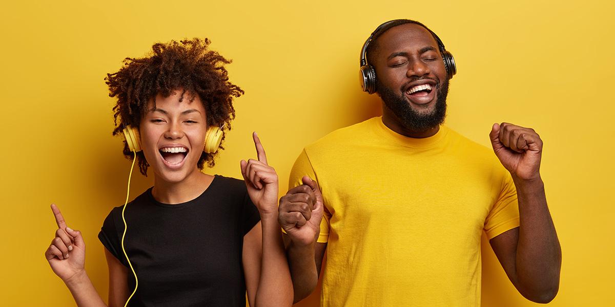 Man and woman singing.