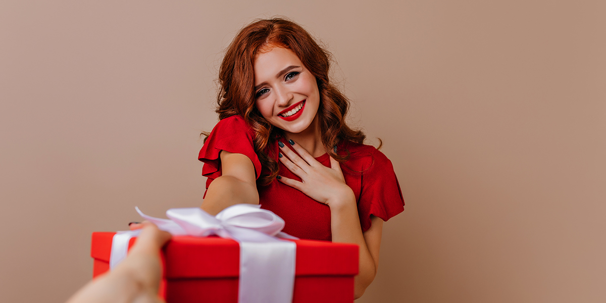 Giving a gift to a girl