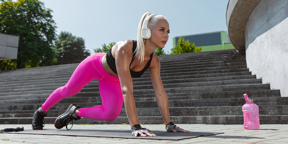 Woman training outside