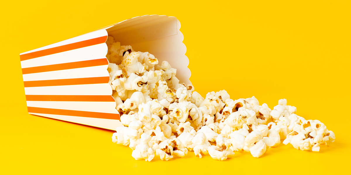 Popcorn bag on a yellow background