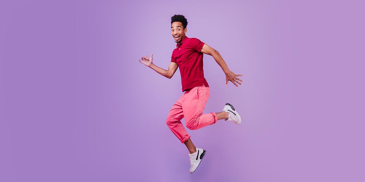 young man having fun
