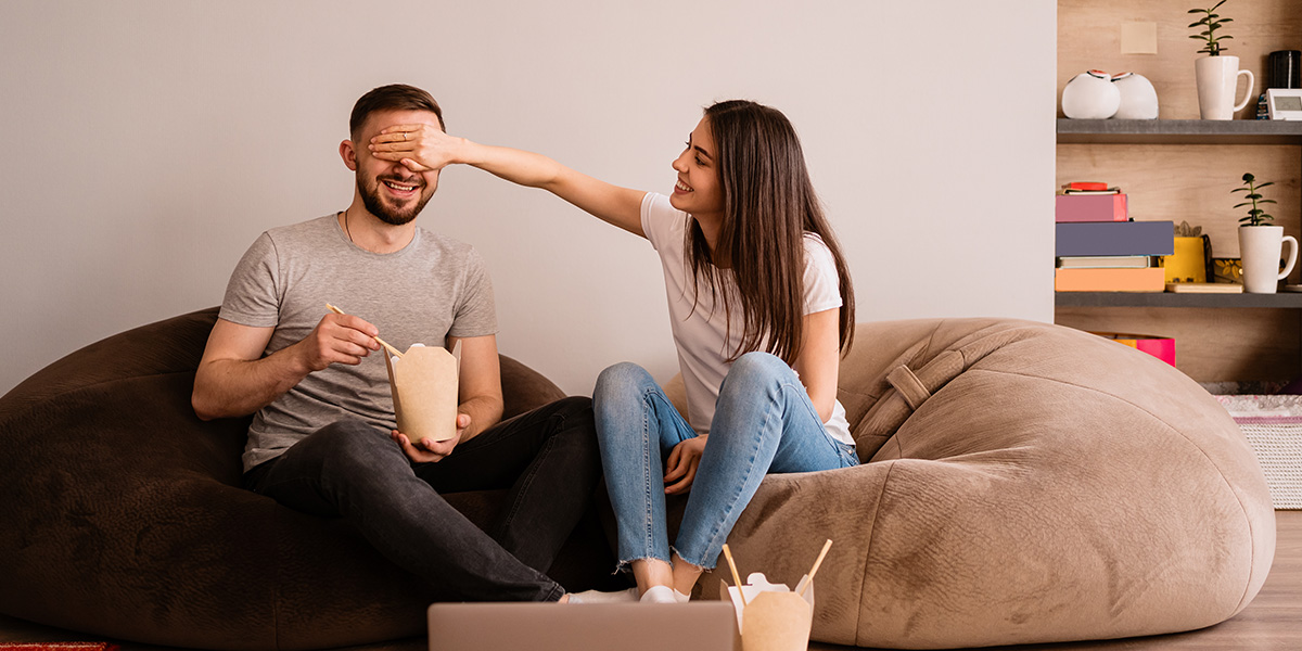 Couple having fun watching movies.